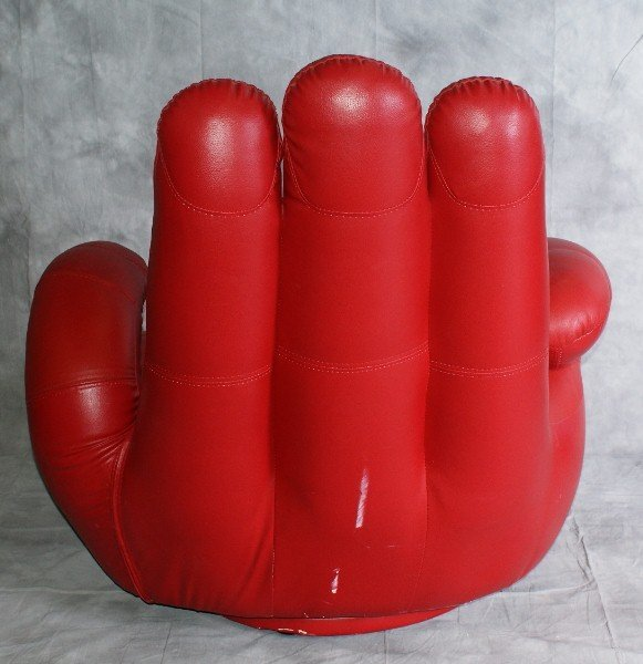 "7: Large red vinyl Glove Chair. H:40"" W:38"" D:30"" - 2"