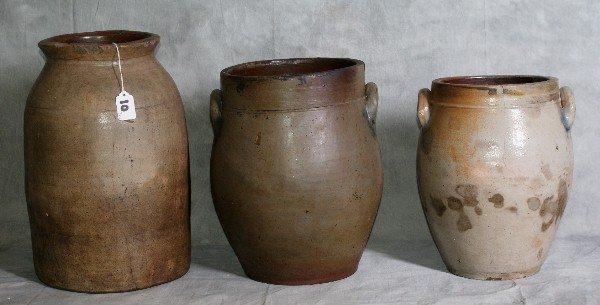 "10: Lot of three stoneware Crocks. Largest H:15"""