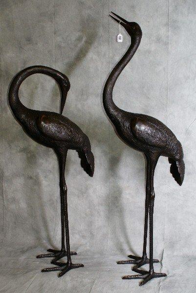 "12: Large pair of bronze Cranes. H: 60"""