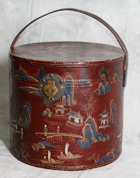 13: 19TH century chinese red laquered pigskin covered b