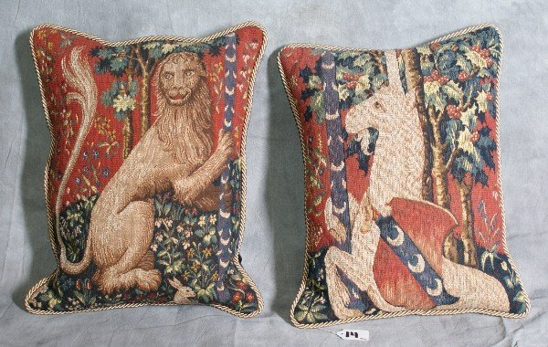 """14: Pair of tapestry pillows from the """"Lady and the uni"""