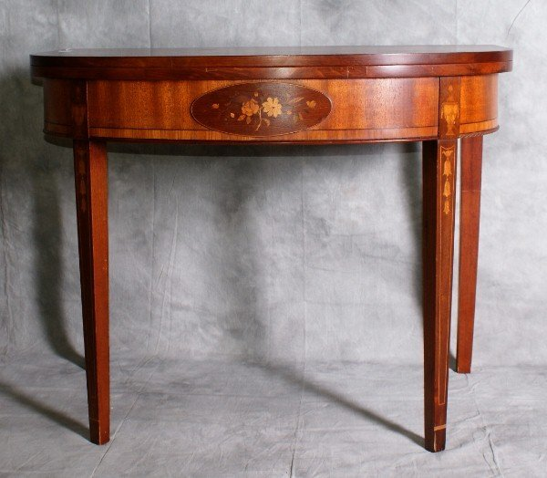 16: Federal style inlaid mahogany flip top game table w