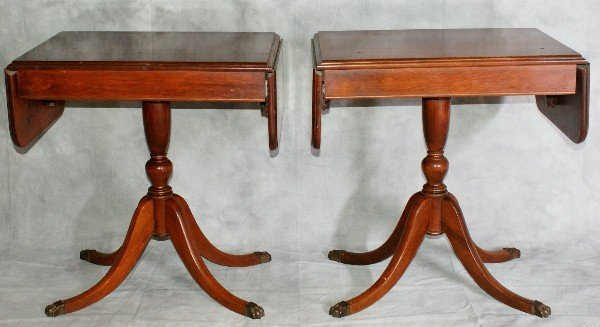56: Pair of Mahogany drop leaf side tables with bronze