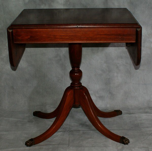 56: Pair of Mahogany drop leaf side tables with bronze  - 2