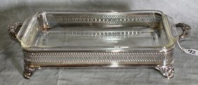 Silver Plate Footed Rectangular Serving Tray With G