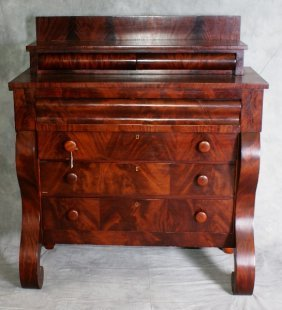 Flame Mahogany Period Empire 6 Drawer Chest. H:48.5
