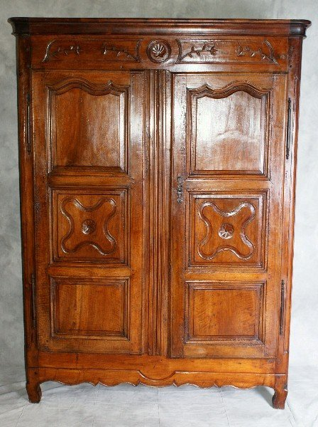 87: 18th C Country French Two Door Armoire opening to t