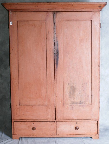 90: Late 18th C American primitive two door over 2 draw