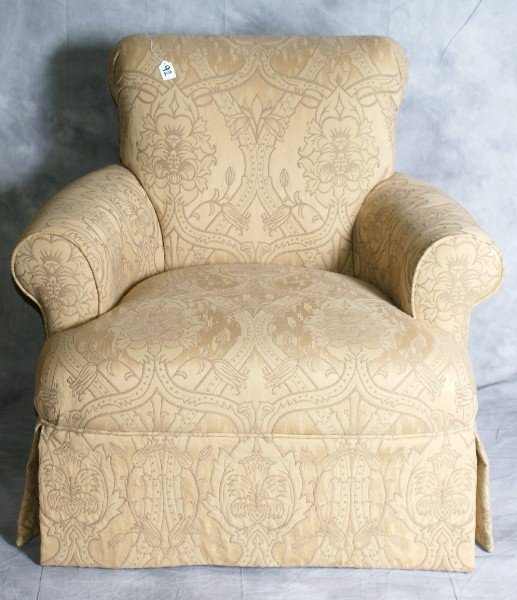 """92: Single upholstered arm chair. H: 33.5"""" W: 36"""" D: 35"""