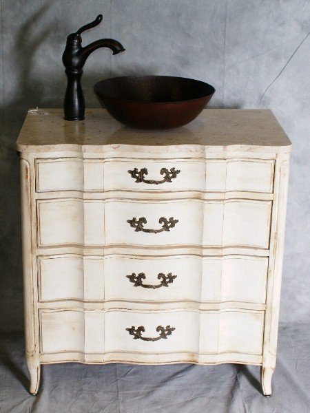 93: 20th C sink in Painted cabinet with 3 faux drawers