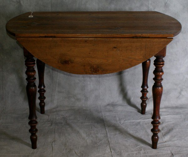 "95: 19th C pine drop side table. H:30"" L:43"" W: 24.5"" a"