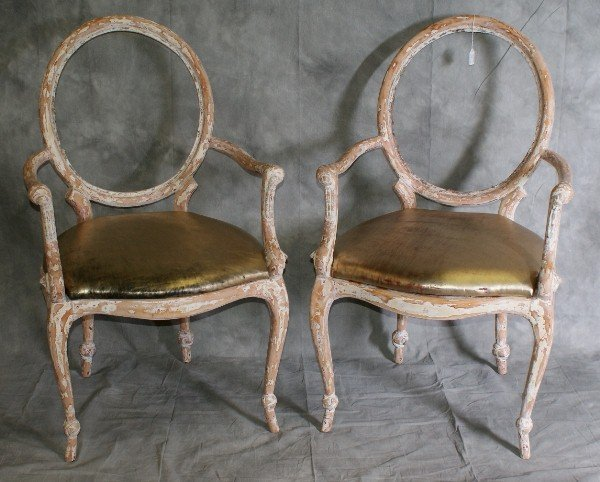 """97: Pair 19th C white washed French arm chairs. H: 39"""""""
