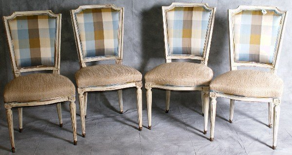 101: Set of four 19th C French cream painted upholstere