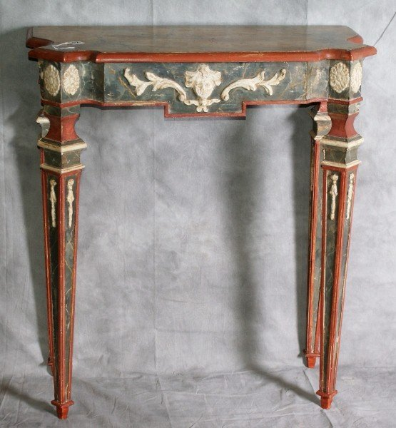 102: 19TH C Italian painted faux marble top console. H: