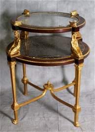 102B:Important  Louis XVI style round dore bronze table