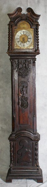 102C: 18th C Grandfather clock with carved case and b