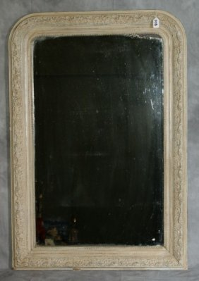 19Th C French White Painted And Carved Wood Mirror
