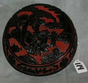 Chinese Red And Black Carved Cinnabar Covered Box