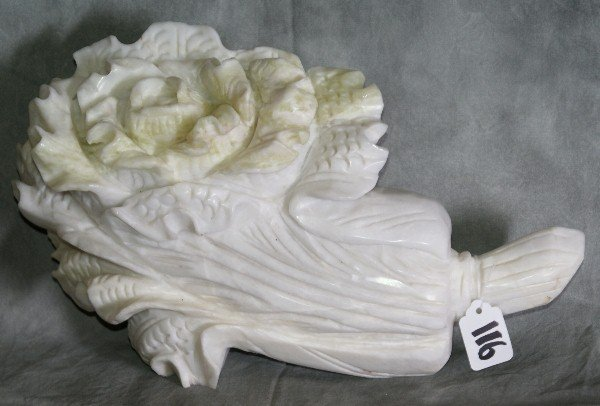 116: Large Chinese white jade carving of a vegetabl. H: