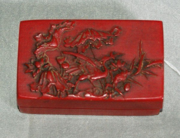 117: Chinese red stone scholars box with printers stamp