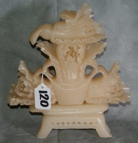"""Chinese White Jade Grouping Of Cabbage. H:9"""" L:8.2"""
