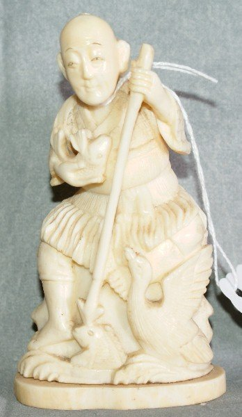 """136: Japenese figural whale tooth carving. H:4.25"""""""