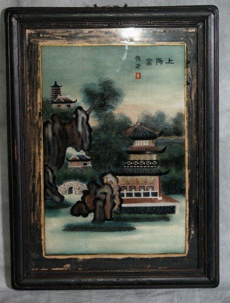 141: Antique Chinese reverse painting on glass of a lan