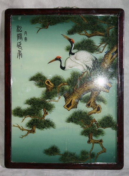 142: Large Chinese reverse painting on glass of cranes
