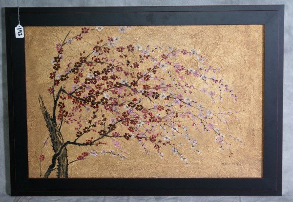 143: Chinese rice paper painting of flowering tree , si