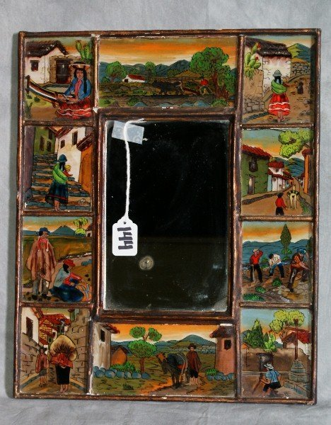 144: Primitive reverse paintings on glass surrounding a
