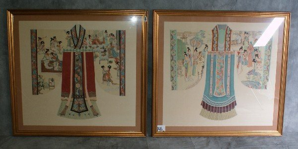 146: Large pair of Chinese Gong Bi style paintings char