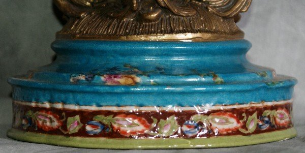 173: Large porcelain and bronze figural covered compote - 6