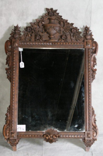 89B: Paper labeled LaBarge carved wood mirror
