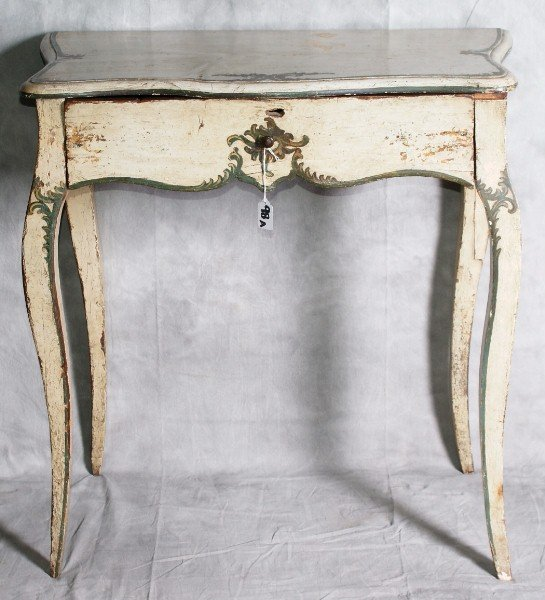 98A: 18th C Italian painted single drawr table.