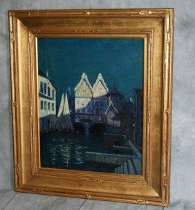 Oil On Canvas Of Venetian Gondola Boathouse Circa