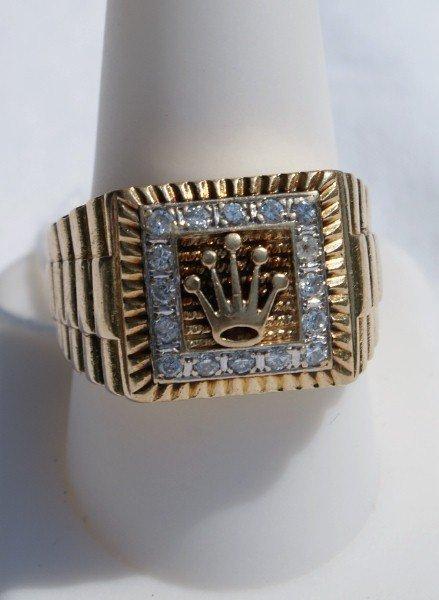 146G: Rolex 14K gold diamond ring 7.3 dwt