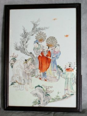 18th C Chinese Famile Rose Porcelain Plaque.