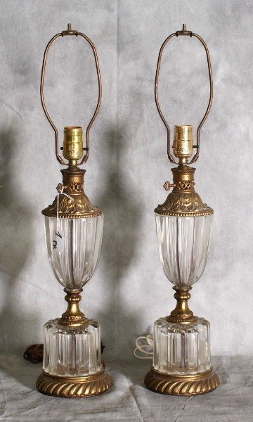 "1:  Pair of bronze and glass lamps . H:24.5""."