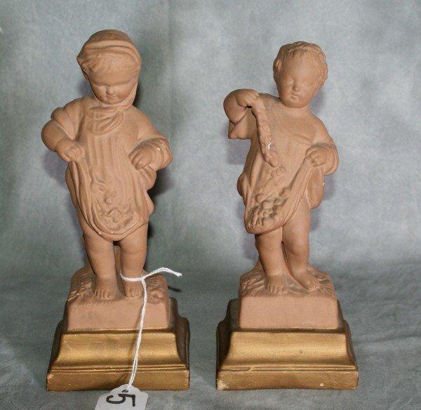 """5:  pair terracotta firures. H:8""""wws."""