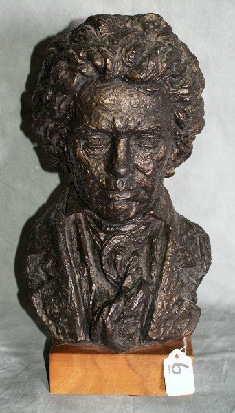 "6:  Bronzed bust of beethoven on wood base. H:14""."