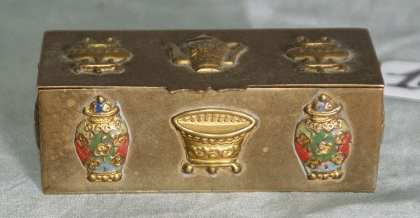 "10:  Chinese bronze and champleve box. L:3.5""."