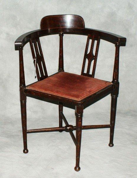 """17:  Edwardian corner chair. H:30"""" W:24"""" D:22""""."""