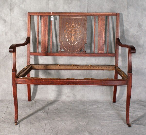 "21:  Edwardian inlaid settee. H:35.5"" W:40"" D:20""."