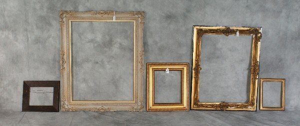 "23:  Five various wood picture frames. Largest H:35"" W:"