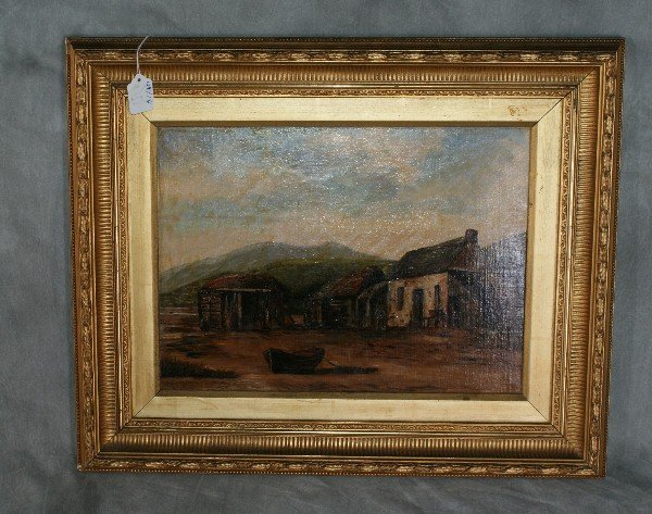 24:  Oil on board of country scene. Signed lower right