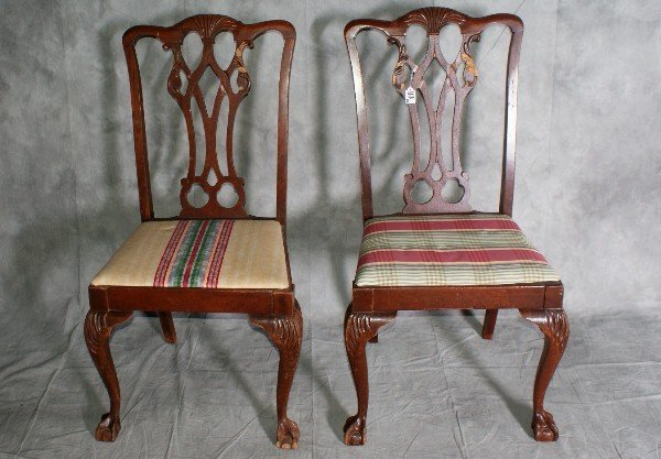 """113:  Pair mahogany chairs on ball and claw feet. H:39"""""""