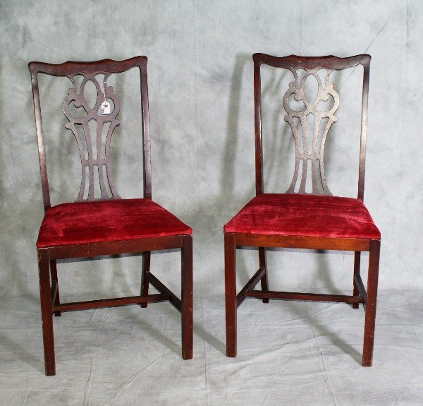 114: Pair mahogany chairs.
