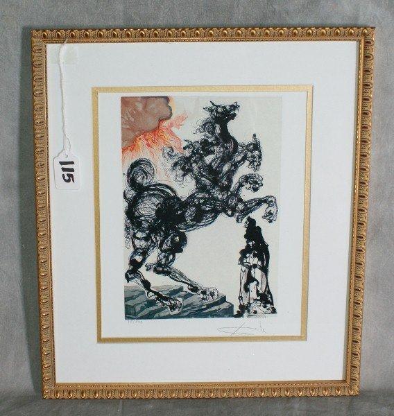 "115:  Salvadore Dali print number 18 of 500. H:16.5"" W:"