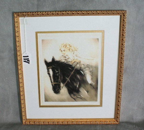 117:  Louis Icart print of woams and horse signed lower