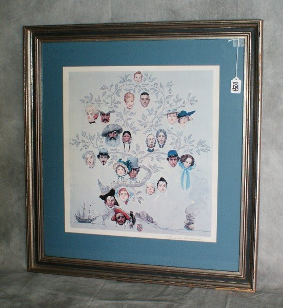 128:  Signed Rare Print of Norman Rockwell family tree